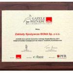 Zakłady Spożywcze Bona Sp. z o.o. w gronie laureatów rankingu Gazele Biznesu 2017