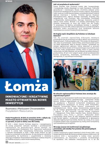 Łomża otwarta na biznes i nowe inwestycje, przyjazny klimat dla przedsiębiorców w Łomży